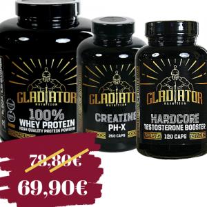 Gladiator 100% whey protein 1kg + Gladiator Creatine PHx 250tbl. + Gladiator Hardcore testobooster 120tbl